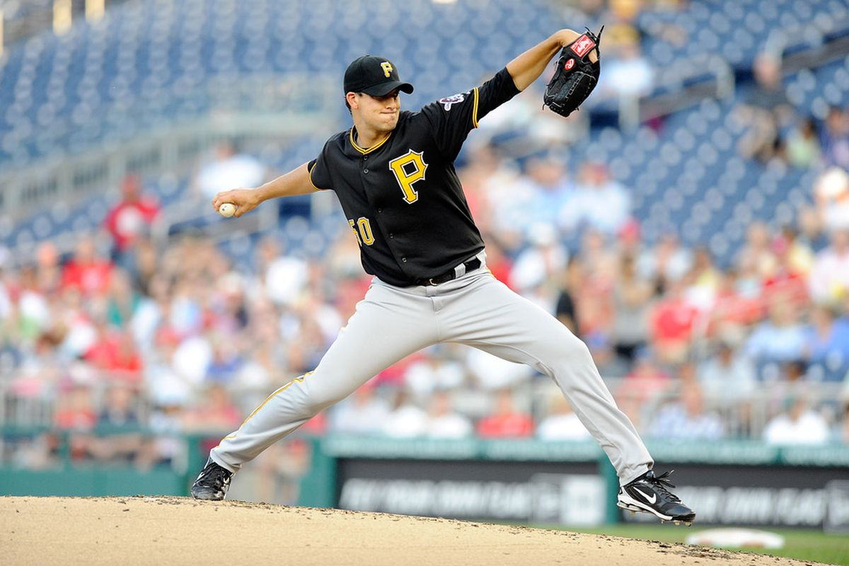 WASHINGTON, DC - JULY 01:  Charlie Morton #50 of the Pittsburgh Pirates pitches against the Washington Nationals at Nationals Park on July 1, 2011 in Washington, DC.  (Photo by Greg Fiume/Getty Images)