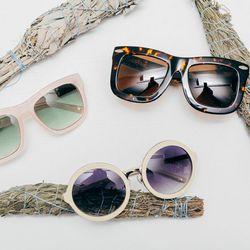 "Linda Farrow x Phillip Lim pink frosted sunglasses, <a href=""http://www.shopcondor.com/linda-farrow-x-phillip-lim-pink-frosted-d-frame-sunglasses.html"">$258</a>; Linda Farrow x Phillip Lim bone round sunglasses, <a href=""http://www.shopcondor.com/linda-fa"