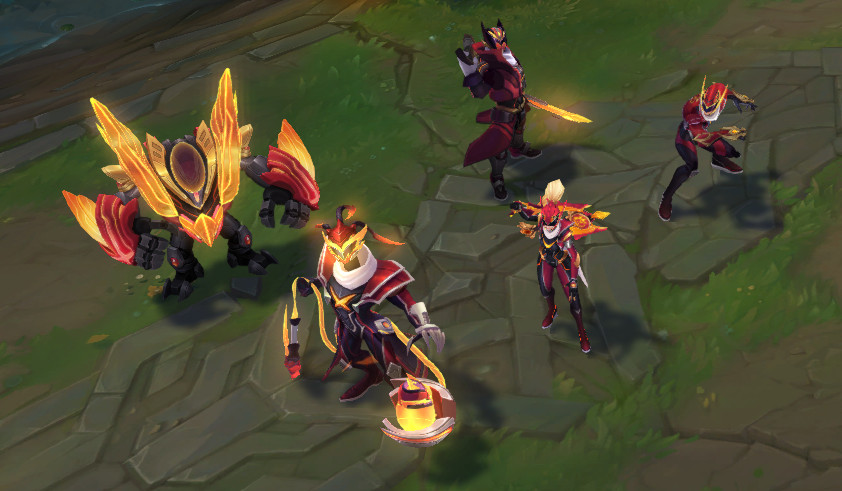 The in-game models for the FPS skins stand on Summoner's Rift