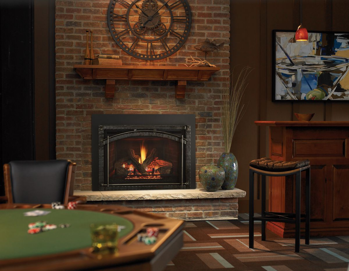 Direct-vent gas fireplace in a basement.