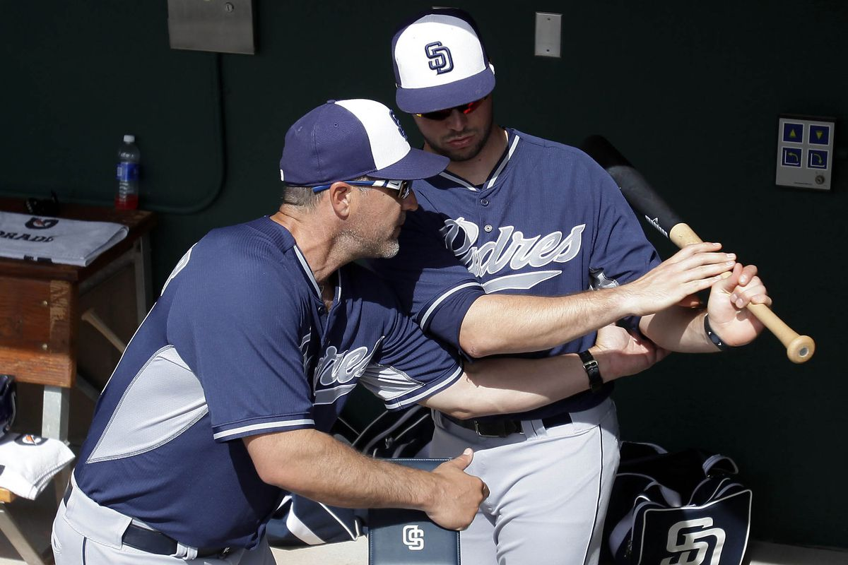 Phil Plantier gives Austin Hedges some hitting tips.