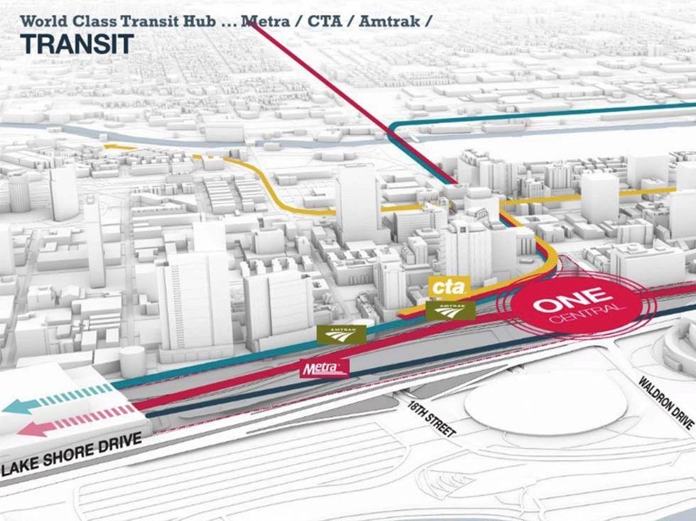 Public transit connections planned at the proposed One Central. The team behind the project says it would font the $3.8 billion cost of a transit center which would serve as the foundation for the multi-high-rise development. | Landmark Development