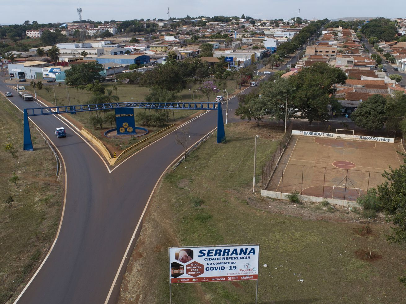 An aerial view of the entrance of Serrana, Sao Paulo state, Brazil, Friday, May 28, 2021. Brazil's Butantan Institute has finished a mass vaccination of the city's entire adult population with doses of Sinovac, to test the new coronavirus' behavior in response to the vaccine.