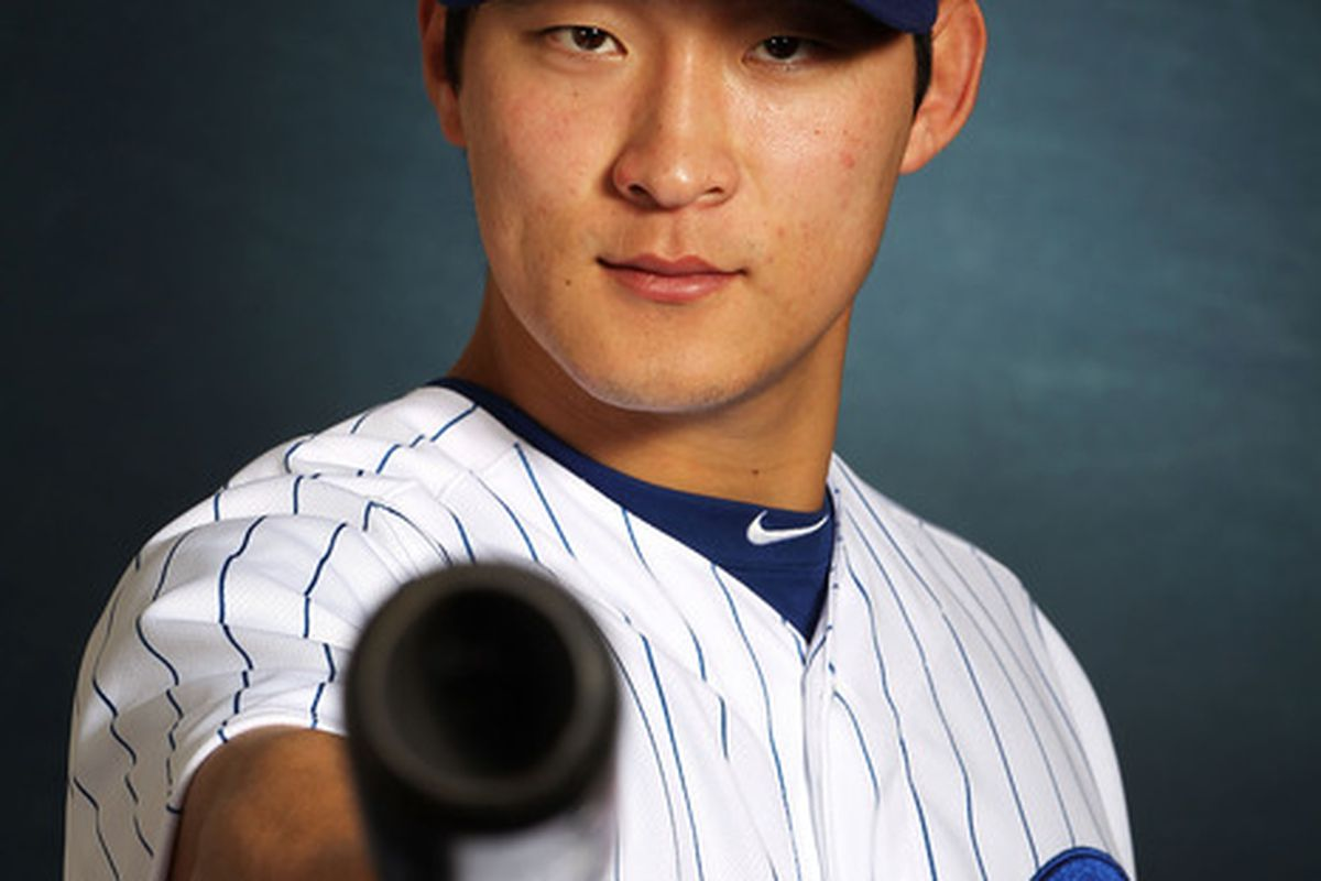 Center fielder Jae-Hoon Ha is 4 for 12 with a double and a walk so far this season. He's also just cooler than you are.  (Photo by Jamie Squire/Getty Images)
