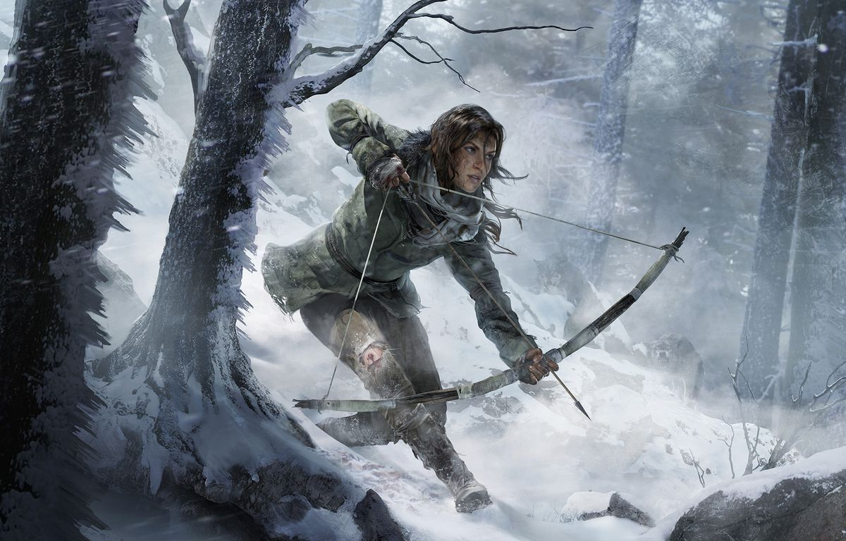 artwork from Rise of the Tomb Raider of Lara Croft holding a drawn bow as she walks down a snowy hill in a forest