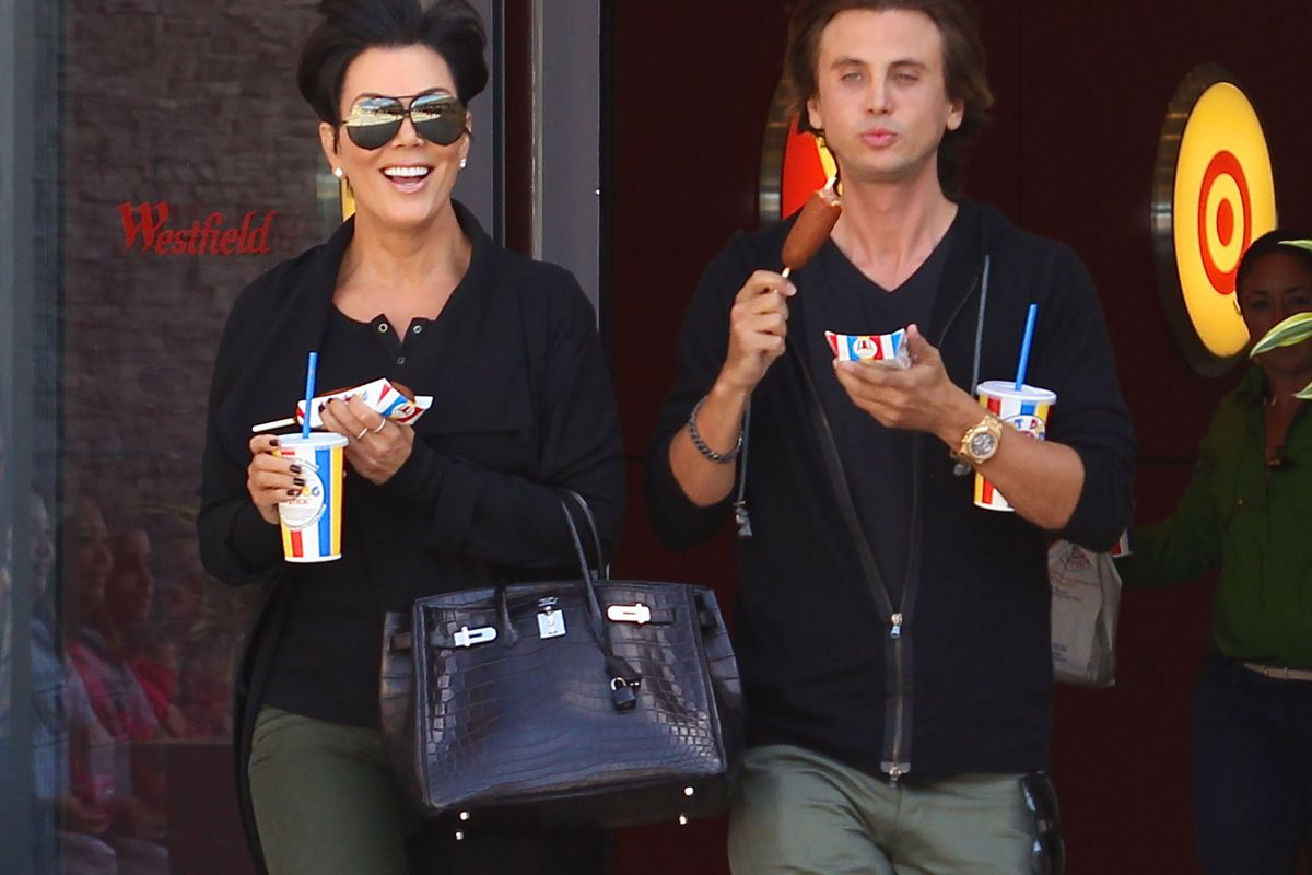 Kris Jenner and friend Jonathan Cheban during a Westfield Topanga visit two years ago.