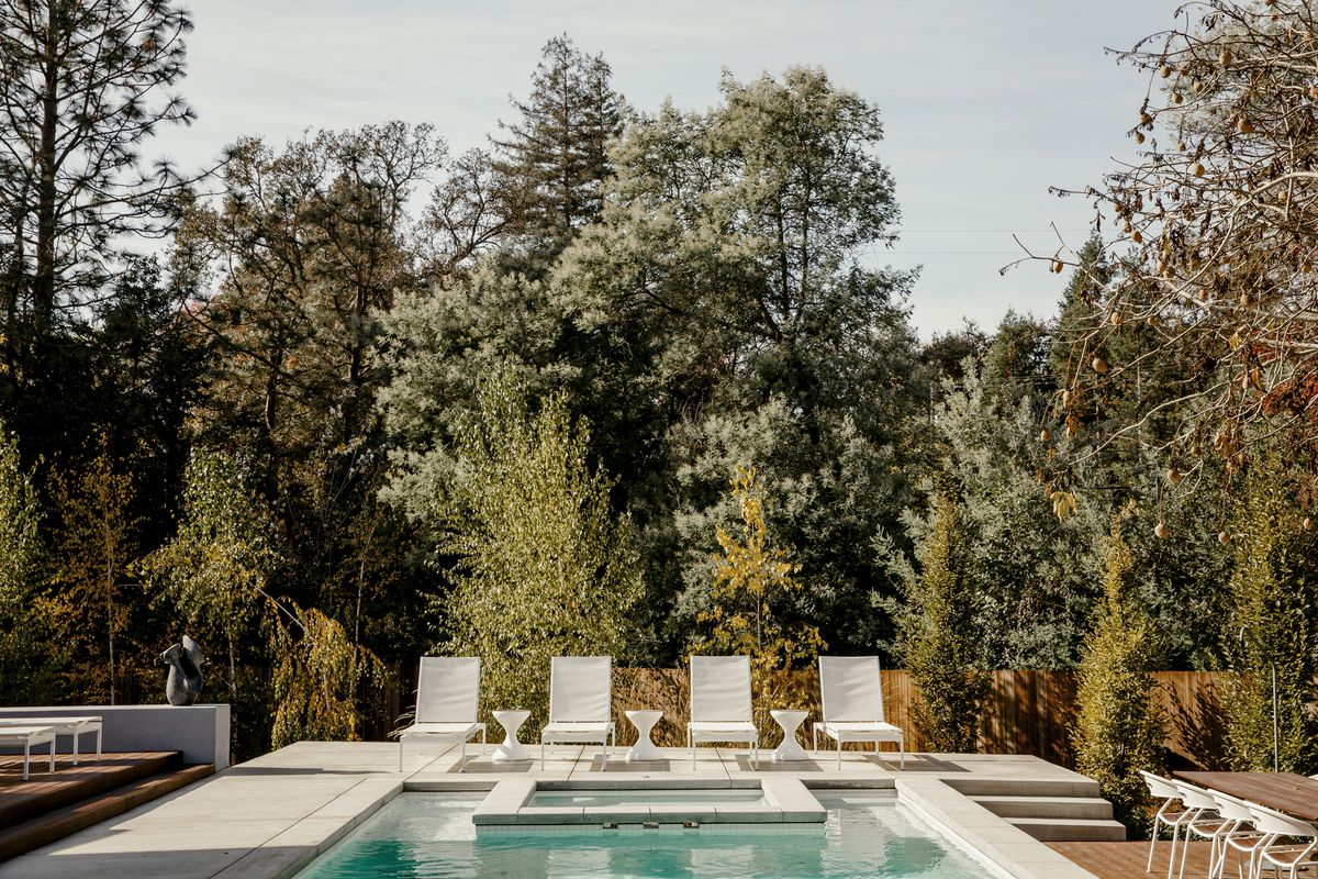 A swimming pool is surrounded by trees.