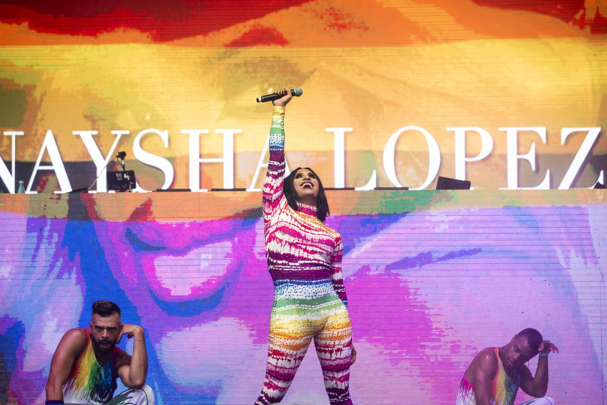 Chicago drag queen Naysha Lopez performs Saturday afternoon at Pride in the Park in Grant Park.