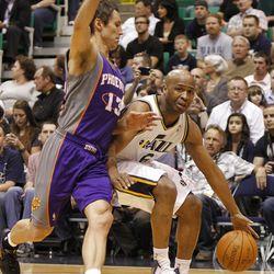 Utah's Jamaal Tinsley dribbles against Steve Nash as the Utah Jazz and the Phoenix Suns play NBA basketball Wednesday, April 4, 2012, in Salt Lake City, Utah.
