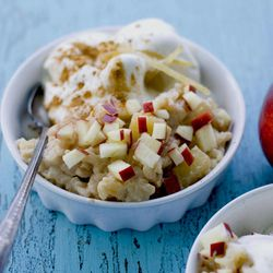 In this image taken on August 27, 2012, a recipe for Caramelized Apple Ginger Rice Pudding is shown in Concord, N.H.