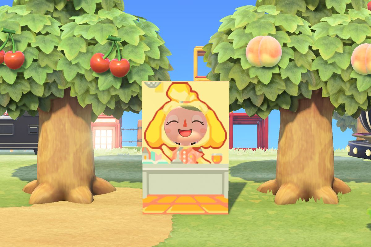 An Animal Crossing character stands in a Isabelle standee cutout.