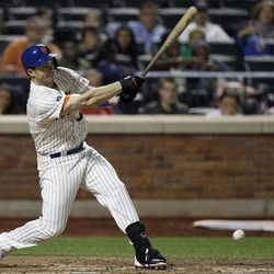New York Mets David Wright hits his 1,419th career hit, in the third inning of the Mets baseball game against the Pittsburgh Pirates at Citi Field in New York , Wednesday, Sept. 26, 2012. With the hit, Wright became the Mets all-time hits leader.