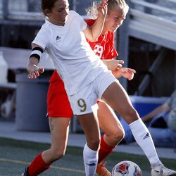Juab's Josephine Kay (9) and Manti's Ally Squire compete in the 3A high school soccer semifinals at Juan Diego High School in Draper on Wednesday, Oct. 21, 2020.