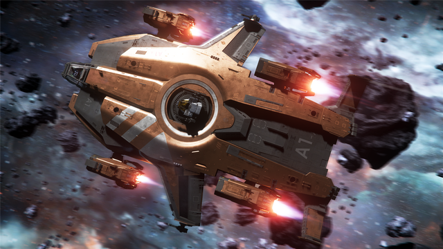 Concept art showing <em>Star Citizen</em>'s Anvil Valkyrie. The ship will be included in the persistent universe game and the single-player <em>Squadron 42</em>. The orange livery seen here is only available if the $330 standalone item is purchased during CitizenCon.