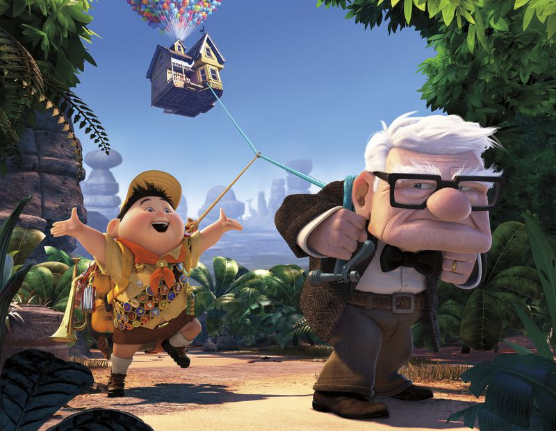 """FILE - In this file film publicity image released by Disney/Pixar Films, animated characters Russell, left, and Carl Fredricksen are shown in a scene from the film, """"Up."""" (AP Photo/Disney/Pixar)"""
