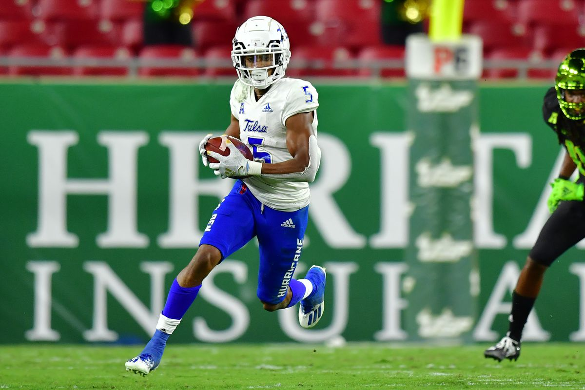 JuanCarlos Santana of the Tulsa Golden Hurricane runs with the ball during the first half against the South Florida Bulls at Raymond James Stadium on October 23, 2020 in Tampa, Florida.
