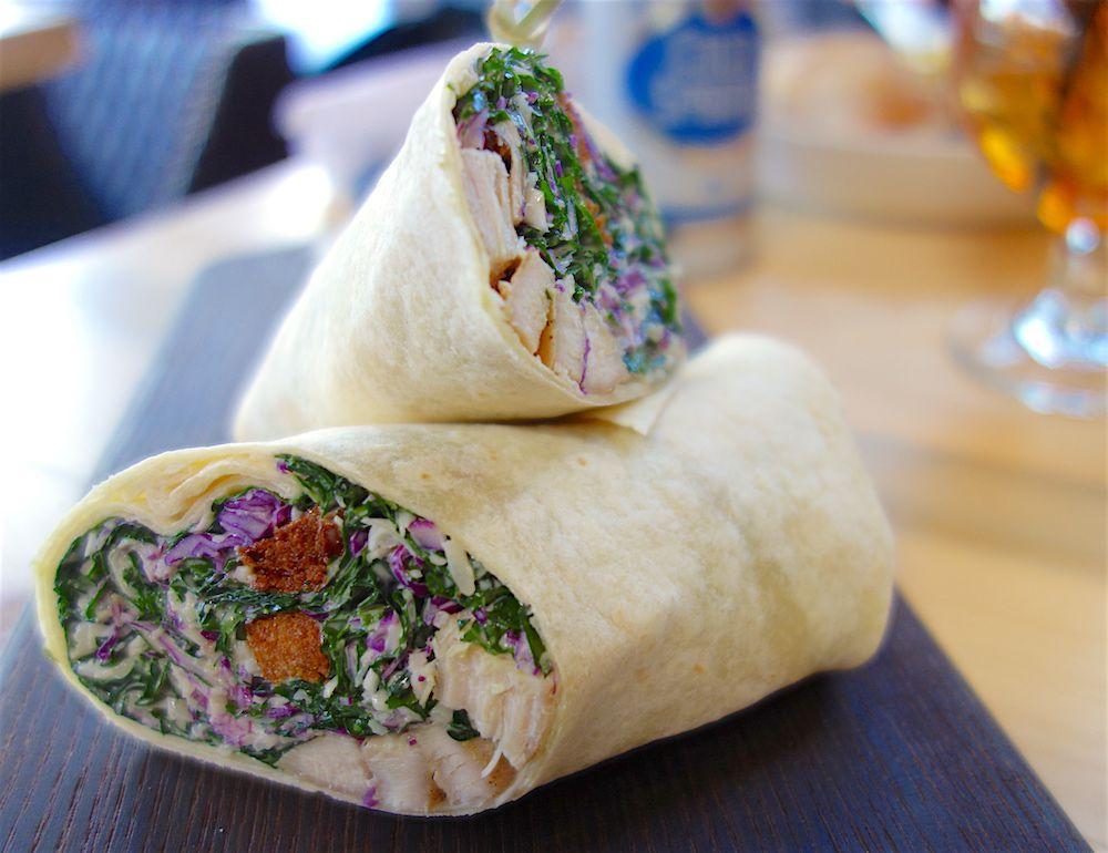 Chicken-spinach wrap in a tortilla