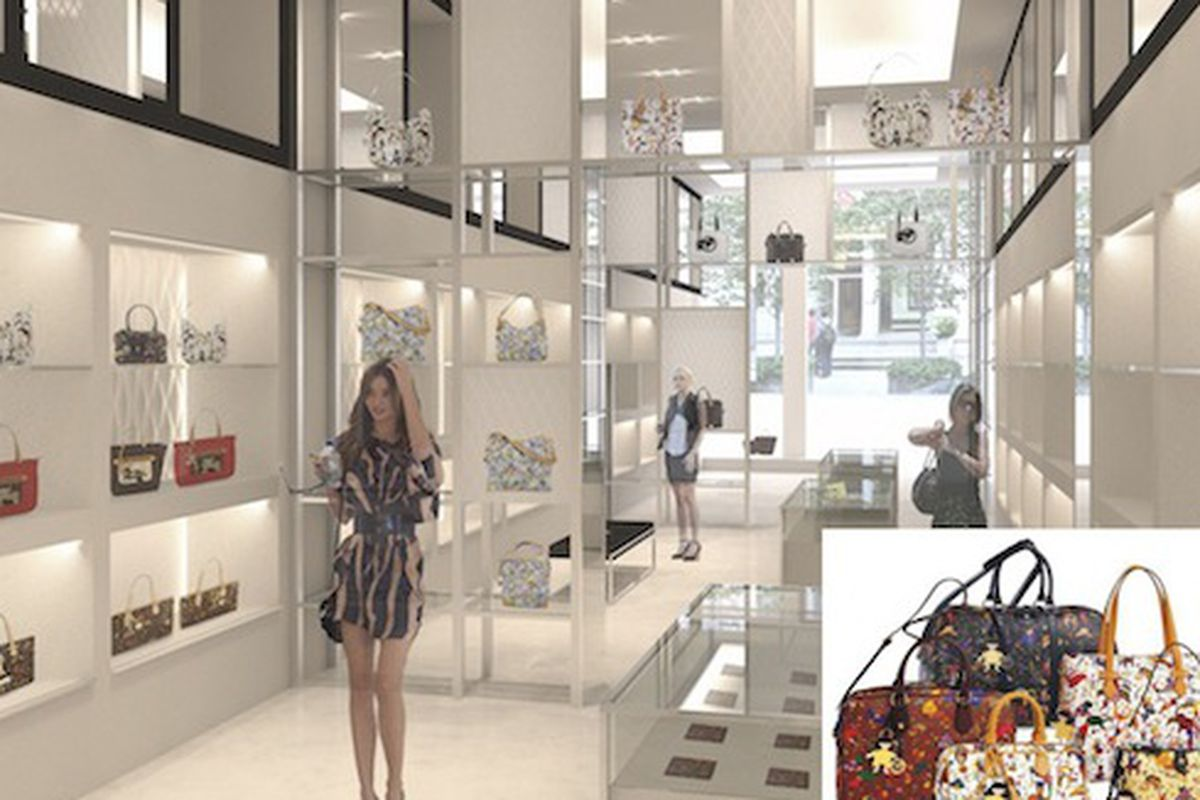 """Rendering of the front of the Piero Guidi boutique and an inset featuring the """"Magic Circus"""" line"""