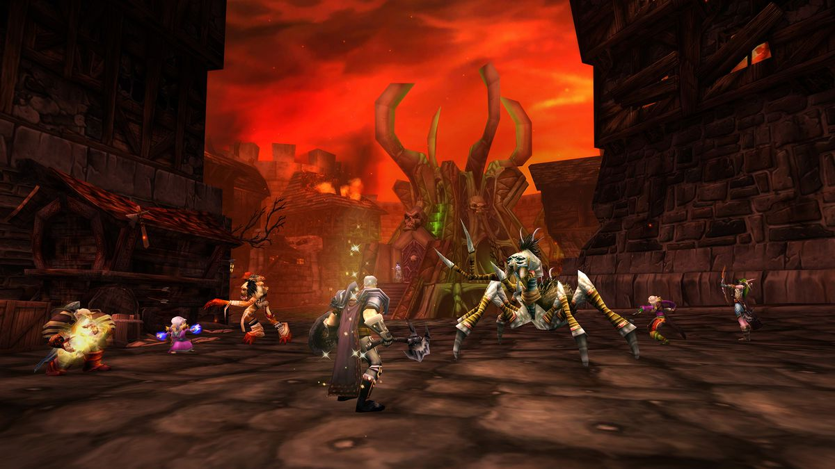 World of Warcraft - players work their way through the Stratholme dungeon in Classic World of Warcraft