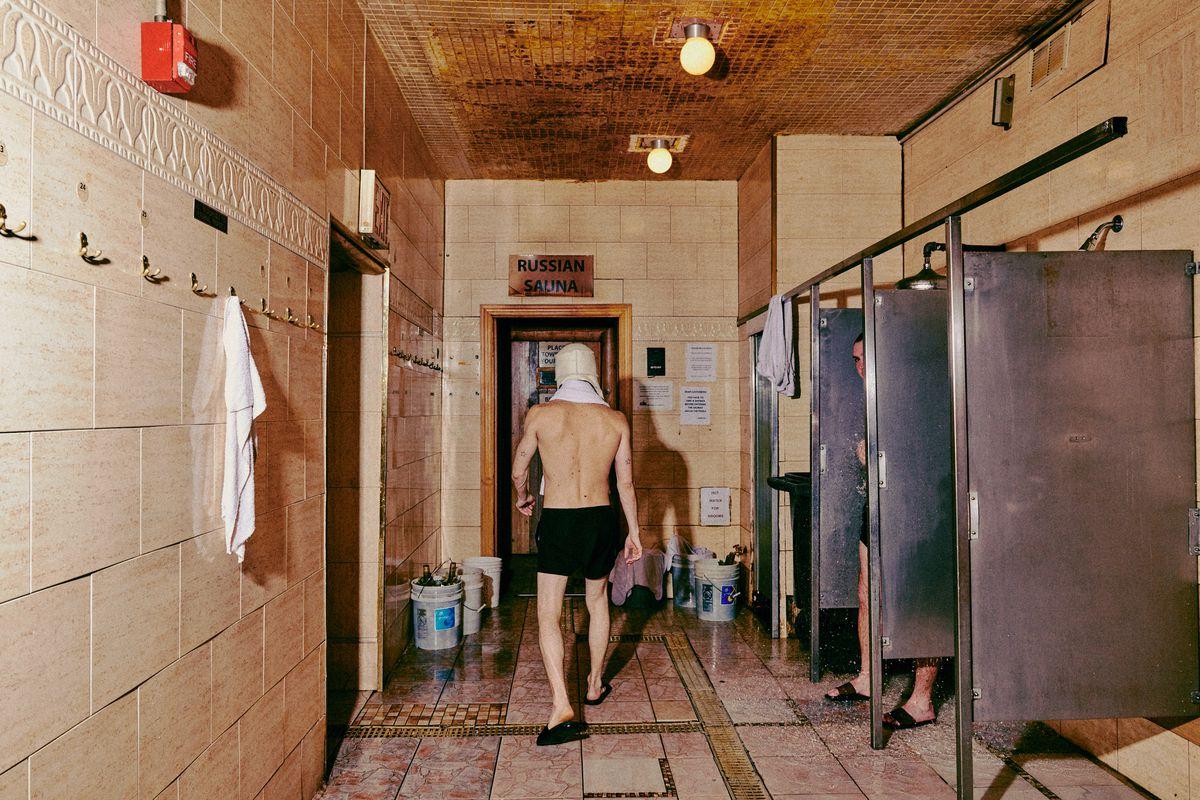 A man walk into the Russian sauna