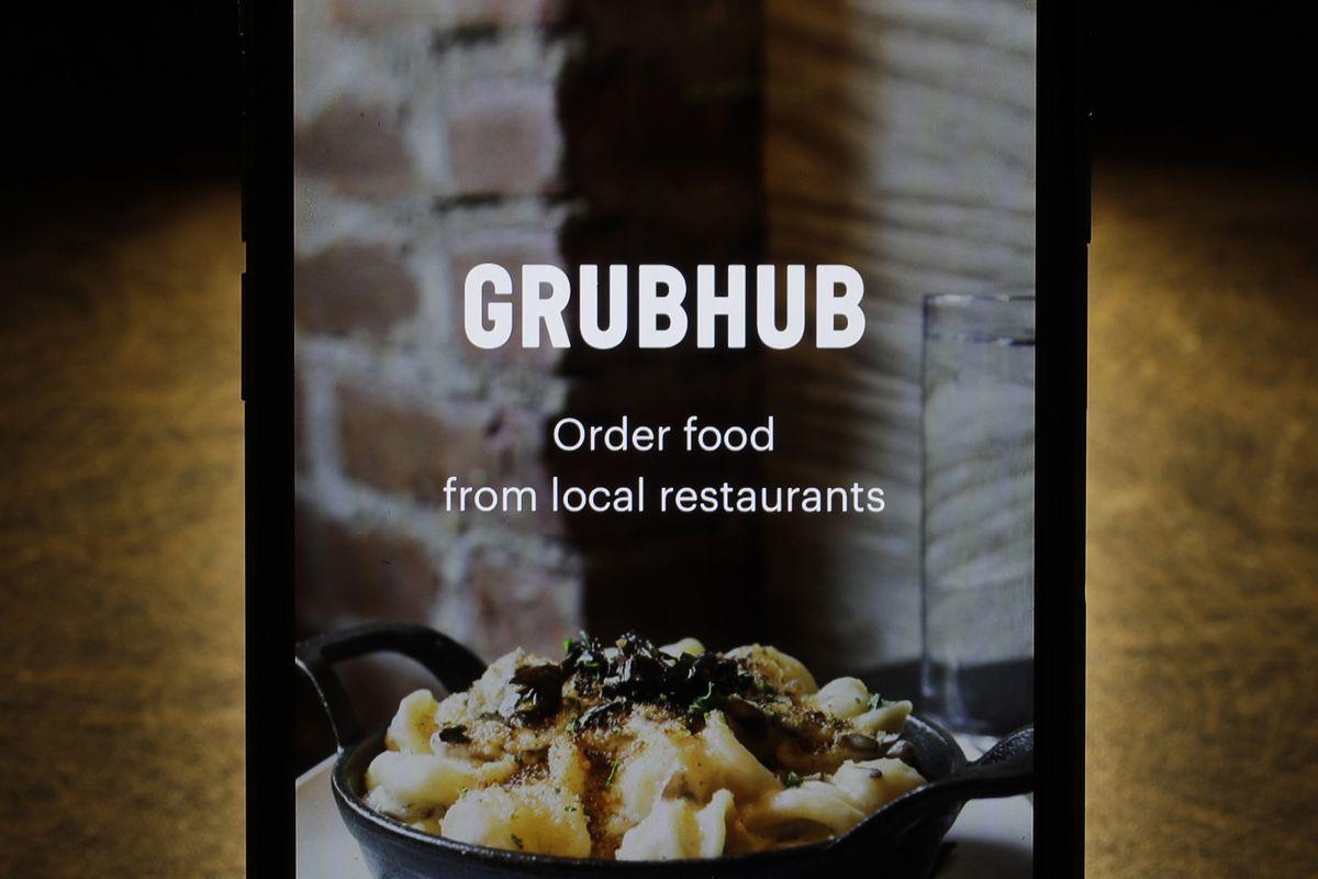 the Grubhub app on an iPhone
