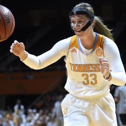 Tennessee basketball freshman Alexa Middleton (33) chases down a rebound during Big Orange Madness scrimmage at Thompson-Boling Arena on Friday, Oct. 24, 2014.