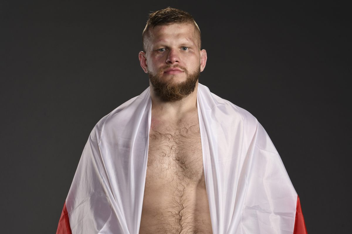 Marcin Tybura poses for a post fight portrait backstage during the UFC Fight Night event at Chartway Arena on February 29, 2020 in Norfolk, Virginia.