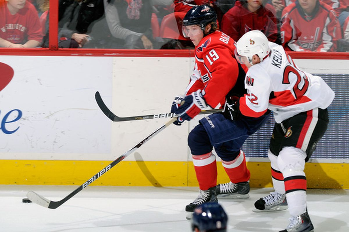 WASHINGTON DC - JANUARY 16:  Nicklas Backstrom #19 of the Washington Capitals battles for the puck with Chris Kelly #22 of the Ottawa Senators at the Verizon Center on January 16 2011 in Washington DC.  (Photo by Greg Fiume/Getty Images)