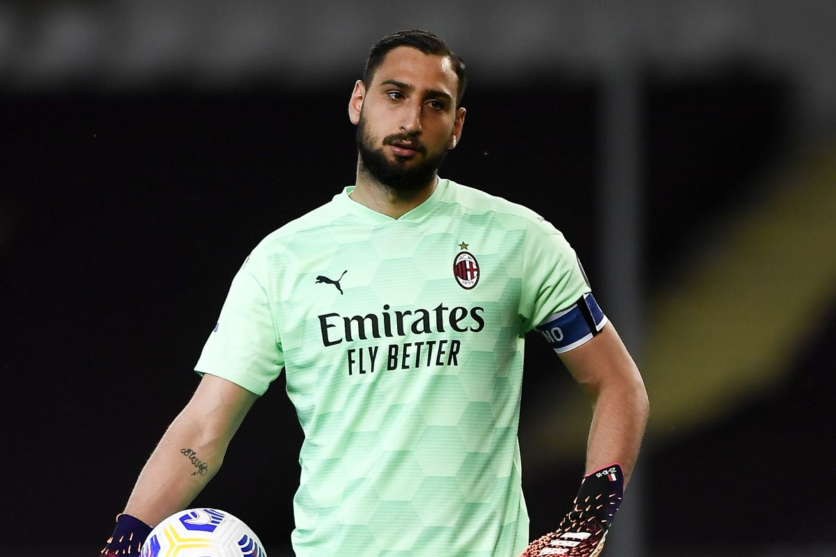 Gianluigi Donnarumma of AC Milan holds the ball during the...