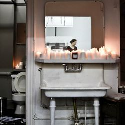 Nice surprise: The store has a candle-filled bathroom.