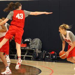 Elena Delle Donne (25) gets Breanna Stewart (43) to jump on a fake.