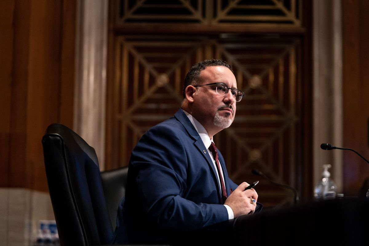 Miguel Cardona is pictured at this confirmation hearing. He was confirmed by the U.S. Senate on March 1, 2021.