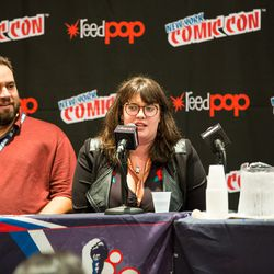 Jamie Rotante, an assistant editor at Archie Comics, speaks at the New York Comic Con 2017.