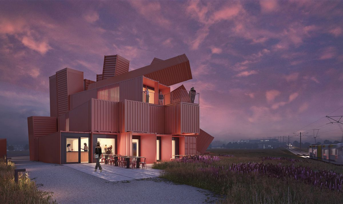 Rendering of shipping container building at dusk