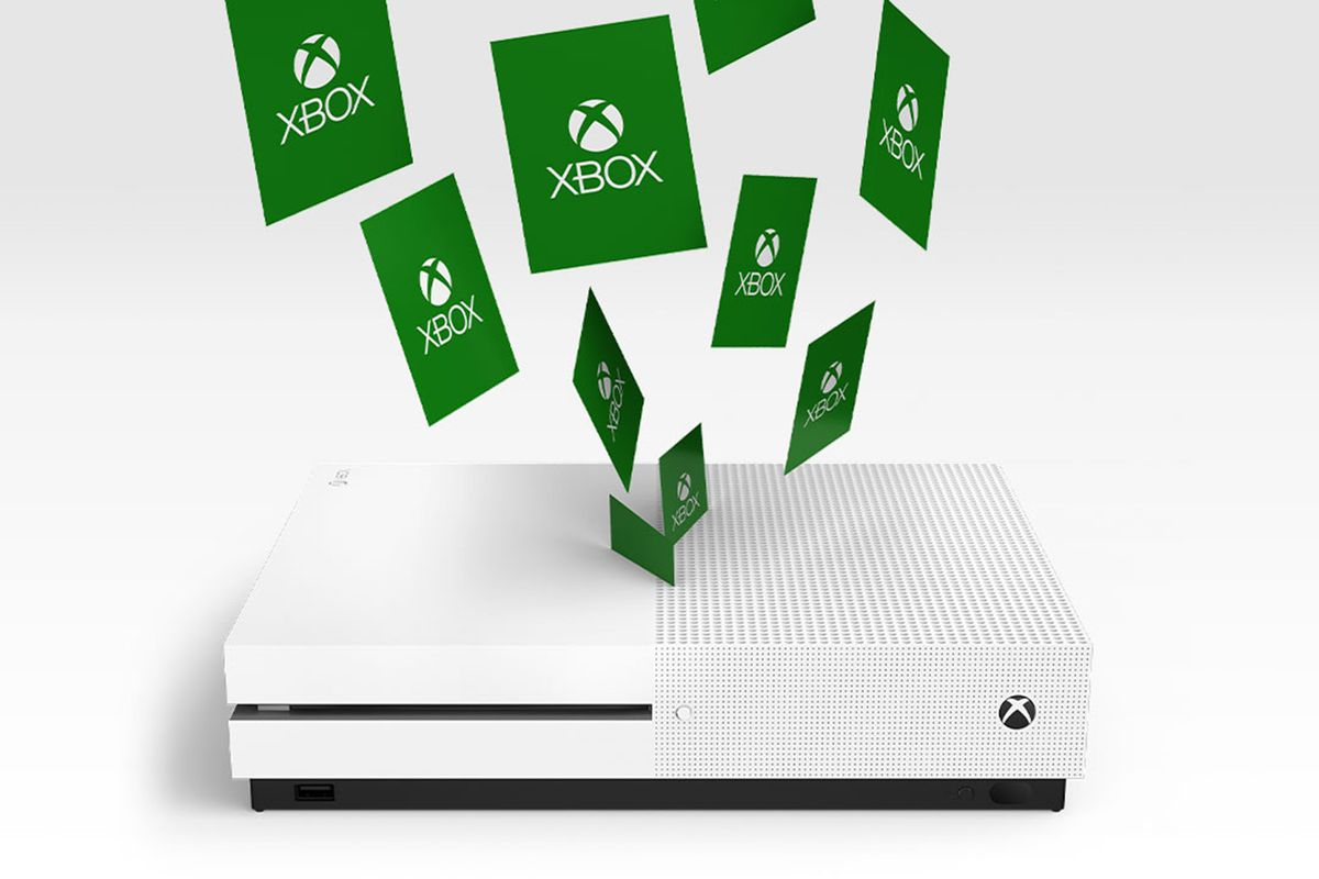 Green game code leaflets fly into a white Xbox One from the heavens.