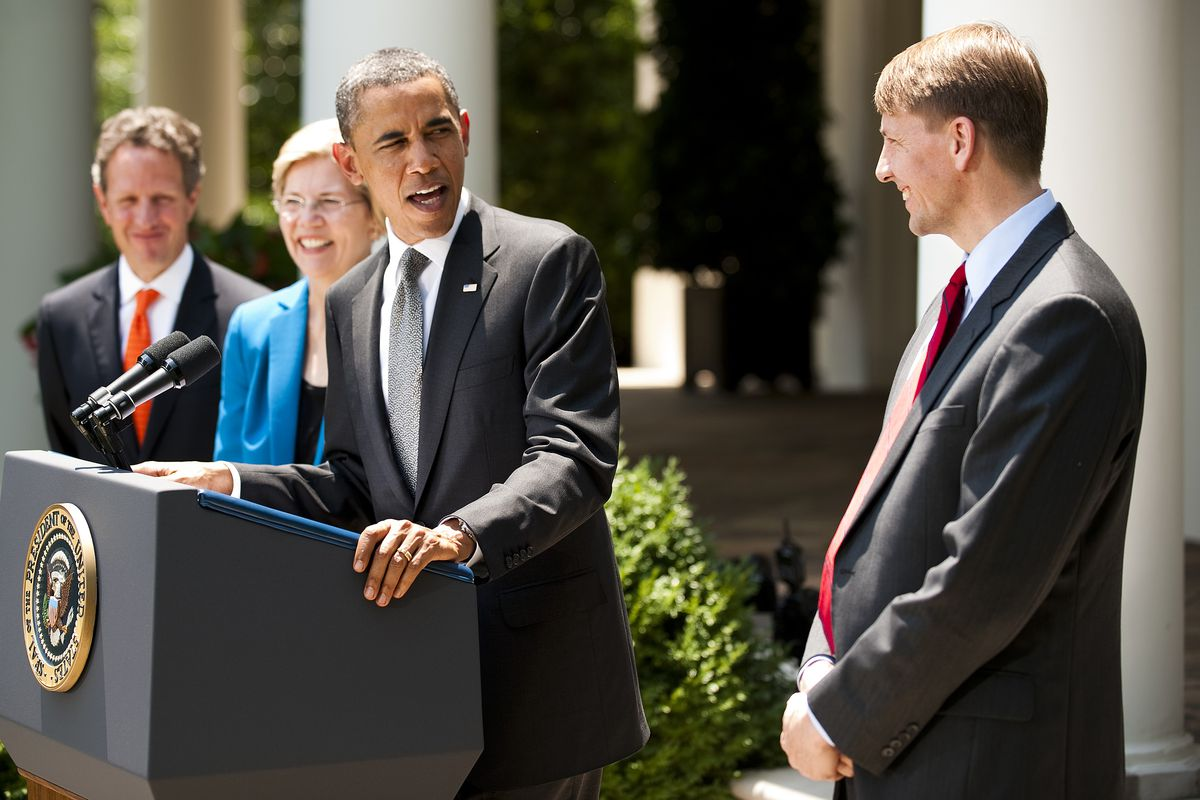President Obama announces the appointment of Richard Cordray, as head of the Consumer Financial Protection Bureau, in 2011. The bureau's budget will be a GOP target.