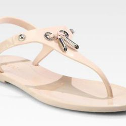"""<b>Tod's</b> Jelly & Patent Leather Sandal in Blush, <a href=""""http://www.saksfifthavenue.com/main/ProductDetail.jsp?PRODUCT%3C%3Eprd_id=845524446555477&R=886138692450&P_name=Tod%27s&sid=13F60AA04820&Ntt=jellies&N=0&bmUID=jZykHpA"""">$128.62</a> (from $245) a"""