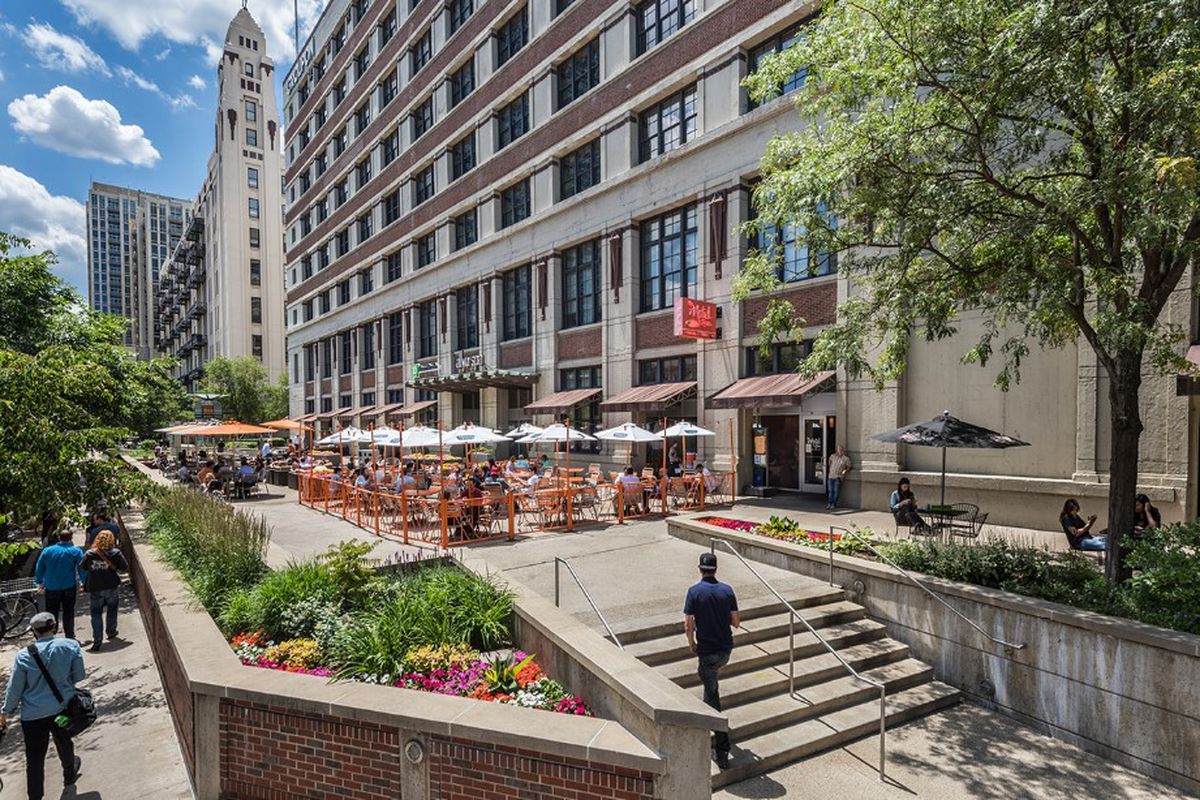A patio outside the Groupon headquarters at 600 W. Chicago Ave.