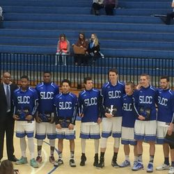 Tyler Rawson and Gibson Johnson pose with teammates during SLCC Sophomore Night.