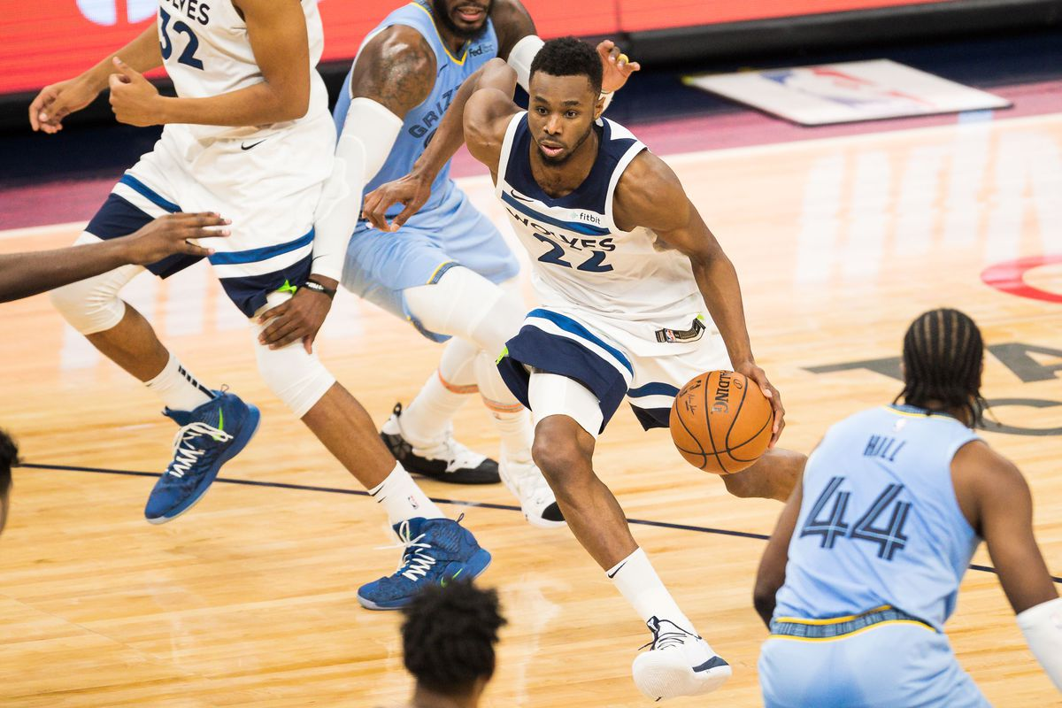 Minnesota Timberwolves forward Andrew Wiggins drives to the basket during the second quarter against the Memphis Grizzlies at Target Center.