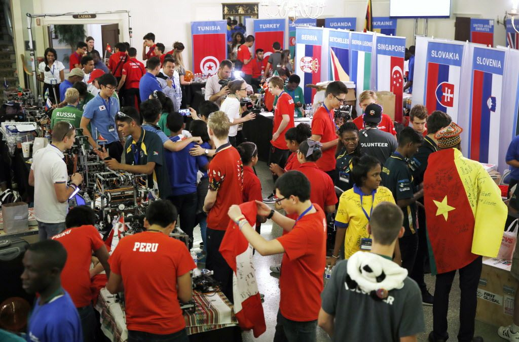 Students from across the world, from Peru, to Russia, to Slovenia, and from across the African continent, meet during the FIRST Global Robotics Challenge on Tuesday, July 18, 2017, in Washington, D.C.   Jacquelyn Martin/AP