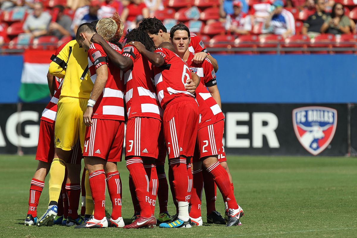 FRISCO, TX - SEPTEMBER 24:  FC Dallas huddles before a  game against the Houston Dynamo at Pizza Hut Park on September 24, 2011 in Frisco, Texas.  (Photo by Ronald Martinez/Getty Images)