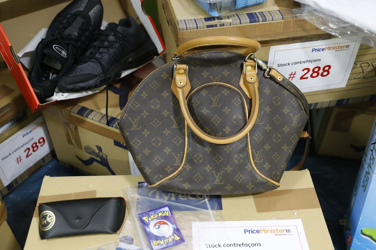 eeded72fbe70 Counterfeit bags and other objects seized by French customs on the fourth  national day of counterfeit destruction in Paris in 2016.