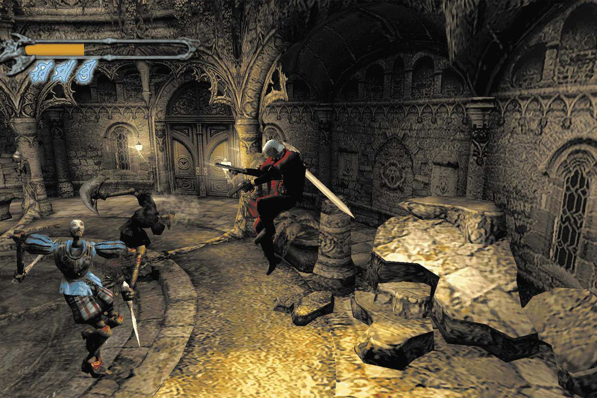 Dante fires at demons in a screenshot from the original Devil May Cry
