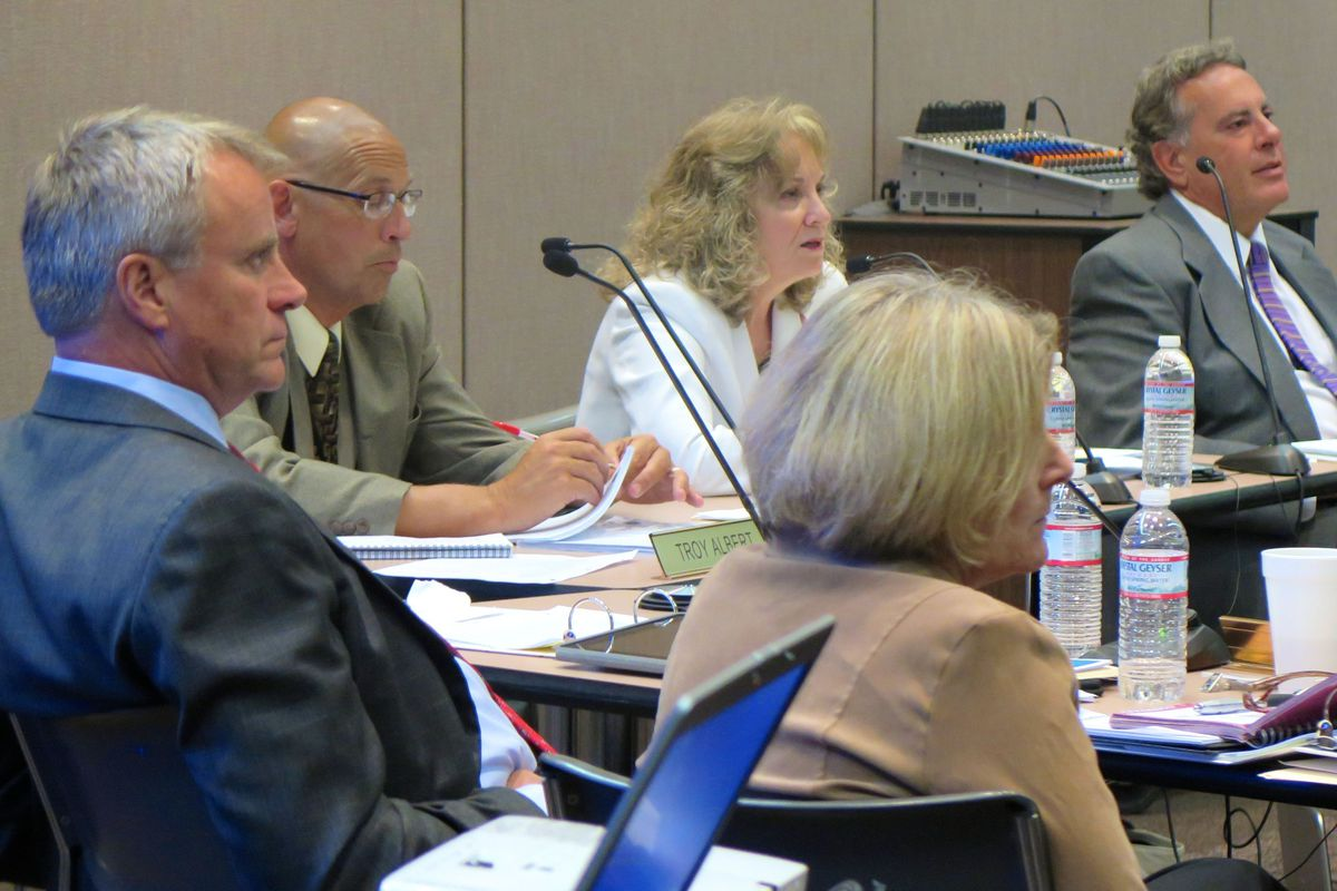 Indiana Schools Superintendent Glenda Ritz argues with the State Board of Education at a July 9, 2014 meeting.