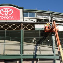 10:41 a.m. Framework being exposed on the Addison Street side of the marquee -