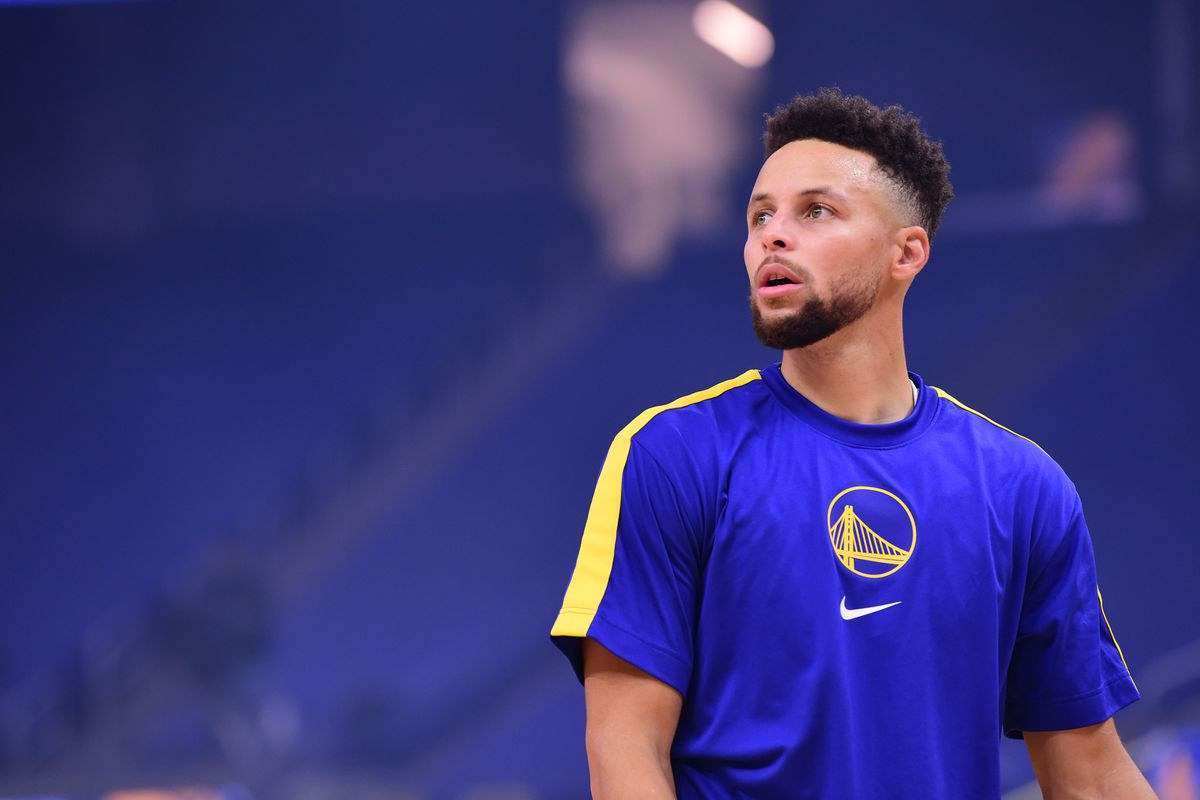 Stephen Curry of the Golden State Warriors warms up before the game against the Indiana Pacers on January 12, 2021 at Chase Center in San Francisco, California.
