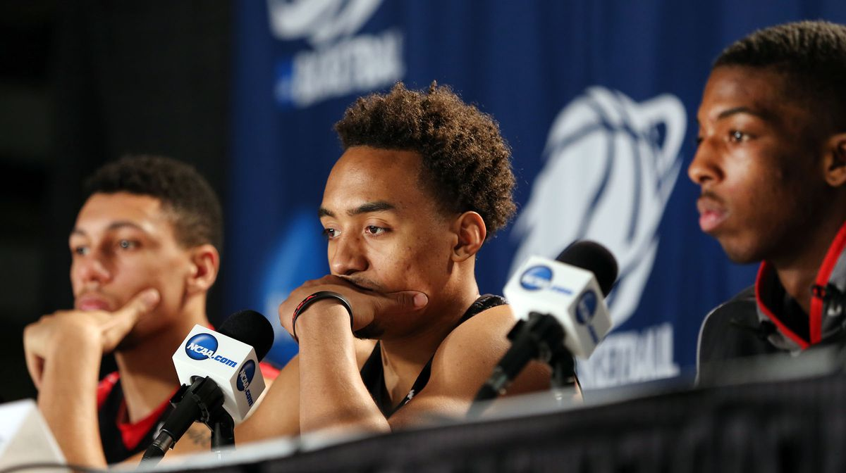 Utah Utes forward Jordan Loveridge (21), Utah Utes guard Brandon Taylor (11) and Utah Utes guard Delon Wright (55) answer questions from the media Friday, March 20, 2015, prior to playing Georgetown in the third round of the NCAA Tournament Saturday in Portland, Oregon.