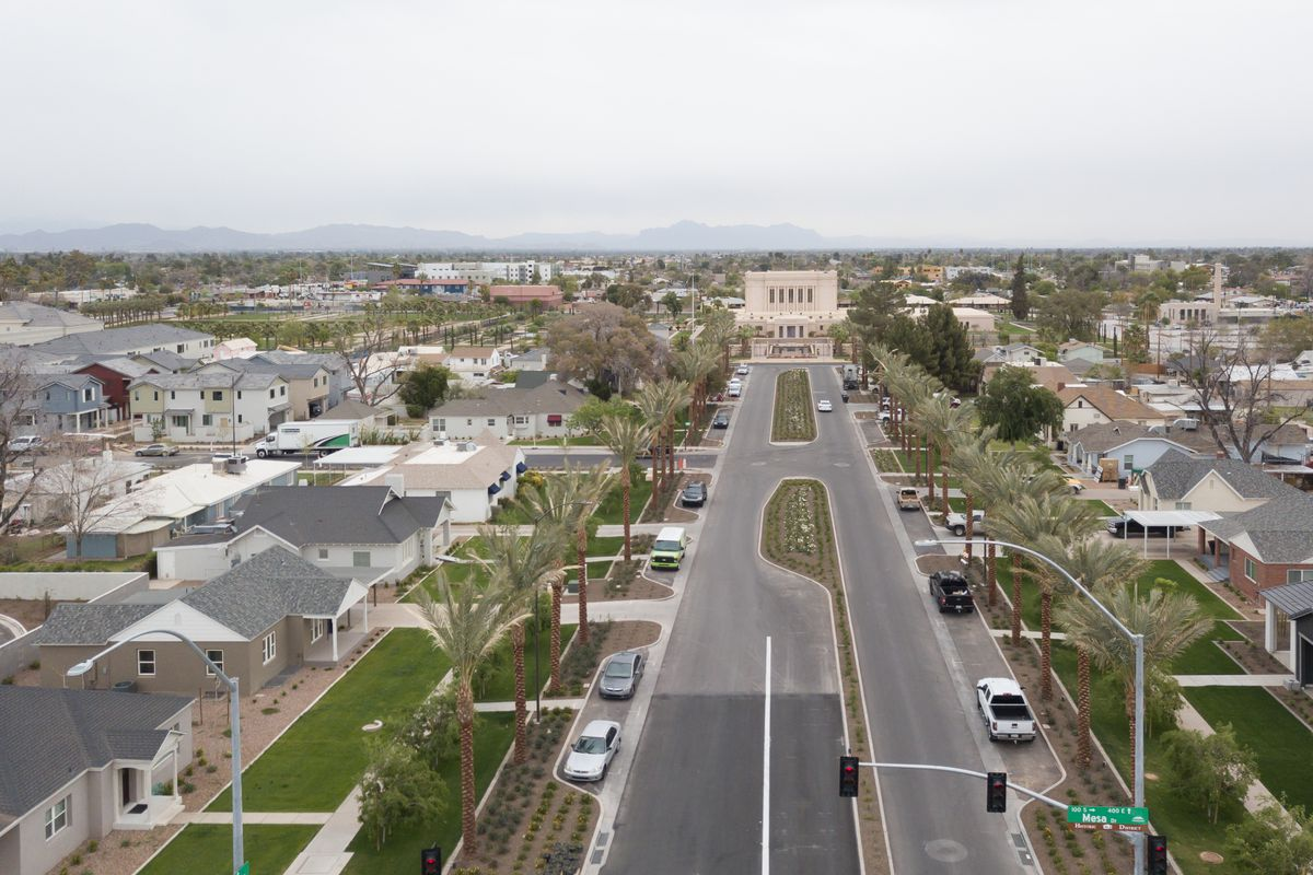 An aerial view from the entrance of First Avenue, a historic district of Mesa, Arizona, in May 2021.