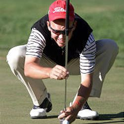 Garrett Willis eyes a putt during the final round of the Envirocare Utah Classic Sunday afternoon.